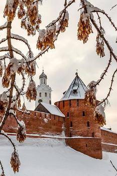 Вид на Детинец Великого Новгорода. / Зимний этюд.