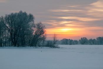 Зимний рассвет / зима,январь,рассвет,река