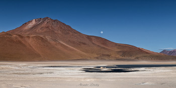 Восход Луны над Белой Лагуной / Высокогорное плато Альтиплано, Боливия