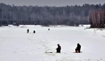 Февральская стужа / Несмотря на февральский холод и мороз, рыбаки часами сидят возле лунок, что бы удовлетворить свой рыбацкий азарт.