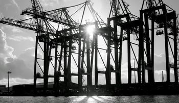В лучах солнца.. / Береговые исполины,без которых жизнь в портах мертва..