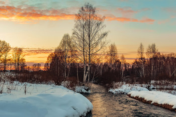 Завтра будет весна! / Алтайский край. Тёплый вечер у реки. Оставляйте комментарии к работе!
