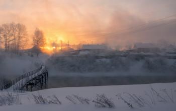 """Рассвет в Белой Холунице. / Из серии """"Январский рассвет в Белой Холунице"""""""