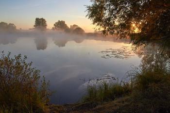 На рассвете. / озеро,рассвет,туман