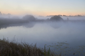 На рассвете. / туман,озеро,рассвет