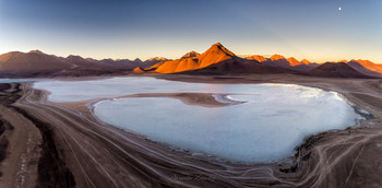 Лагуна Бланка / Дронопанорама. Альтиплано, Боливия