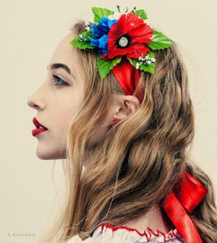 Folk portrait of a Ukrainian girl in the style of A. Krivitsky. / Folk portrait of a Ukrainian girl in the style of A. Krivitsky.