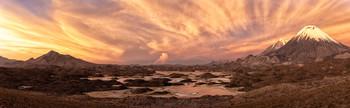 Симфония заката (панорама) / Национальный парк Лаука, Чили