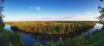 «Десна» / В этом году разлива у нас нет, но виды на реку и луг как всегда шикарные! Вертикальная панорама.