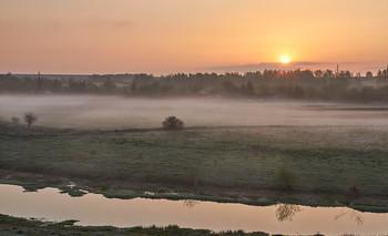 Без названия / рассвет,туман,речка