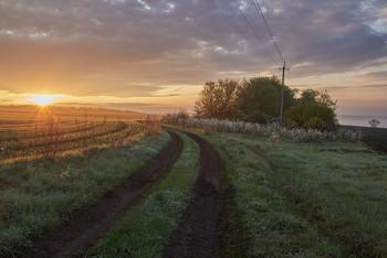 Без названия / дорога,рассвет,поле