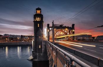 Закат. / Спб,Большеохтинский мост.