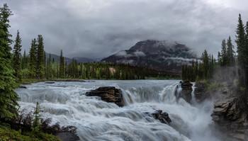 Athabaska Falls / Водопад Атабаска (панорама), НП Джаспер, Канада