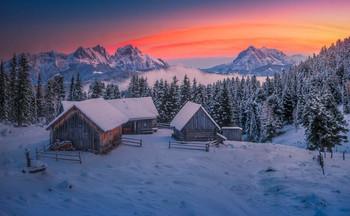 / Morgens auf der Scheibelalm in der Steiermark
