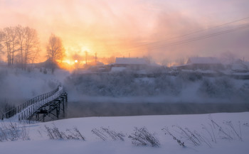 Морозным утром. / Утро морозное. Парящая река Белая Холуница.