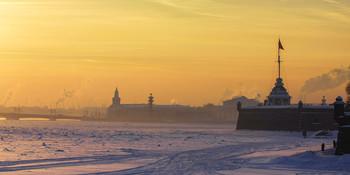 Когда в Петербурге была зима / Вид на Неву и Петропавловскую крепость