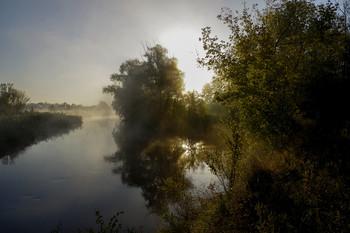 Рассвет / утро,туман,река