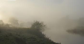 На встречу рассвету / утро,туман,река,человек
