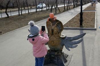 Юный фотограф / Родители поставили куклу и дали смартфон сфотографировать ребёнку для радости и удовольствия.