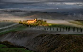 / Aufgenommen an einem nebeligen Dezember Tag in dr Toskana nahe Siena