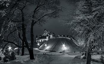Весь покрытый инеем, абсолютно весь... / ...замок Радзивиллов в Беларуси есть.  Фото зимний ночной замок Радзивиллов в Несвиже в высоком разрешении для цифровой и офсетной печати ...всякой полиграфической ФИГНИ :)