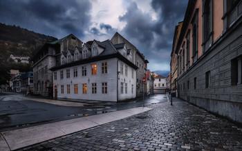 Улицы Бергена. / Самый дождливый город Норвегии.