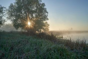 / рассвет,озеро,туман