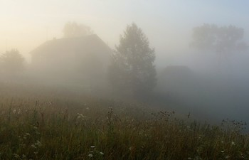 """Сонный туман по утру серебрился ..."" / ""Бледно-белой пеленою,  Покрывая небосклон,  Всходит день ... далекий звон  Дрогнул томною волною,  Навевая тихий сон ...""  А.Курсинский"