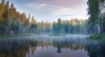 Утро на лесном озере. / Тульская обл. оз. Бобриная Карасятня.