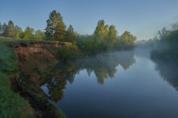 / рассвет,туман,река