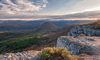Крымской осени акварель... / Близ Бахчисарая осенью в ноябре...Закатный свет...