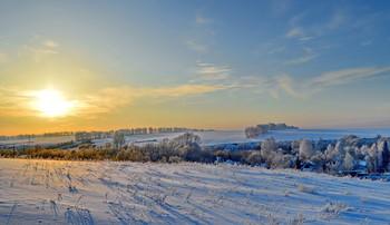 зимний закат / восточный казахстан