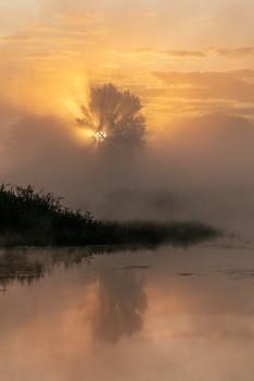 / рассвет,туман,озеро