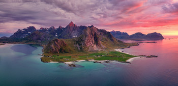 Закат над Flakstadøya / Остров Flakstadøya, Лофотены, Норвегия. 11.08.2020.