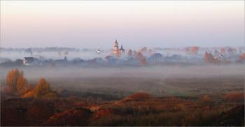 Был октябрь / Утро. Туман. Вид на село Заречное (историческое название Ямская Слобода) и окрестности.