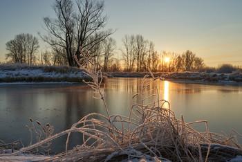 Морозным утром. / мороз,озеро,рассвет