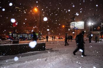 / снегопад в городе