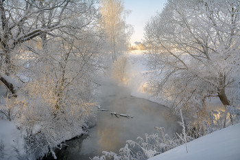 Зимнее утро. / река Деготня Тульскаая обл.