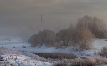 Прощание с Дунилово / Морозный туман над рекой Теза. с. Дунилово Ивановской обл.