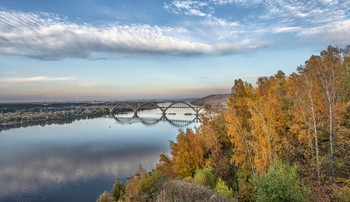 Сартаковский мост. Ока. / Нижний Новгород. Сартаковский мост. Ока. Октябрь.