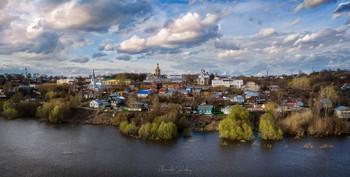 Открытка из Касимова / Панорама с дрона, зависшего над Окой