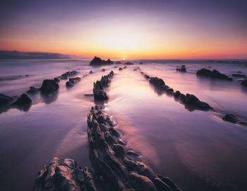 К солнцу / Обнажающиеся во время отлива флишевые породы побережья Бискайского залива создают удивительные ритмичные образования, напоминающие хребты драконов.  Страна Басков, Баррика.