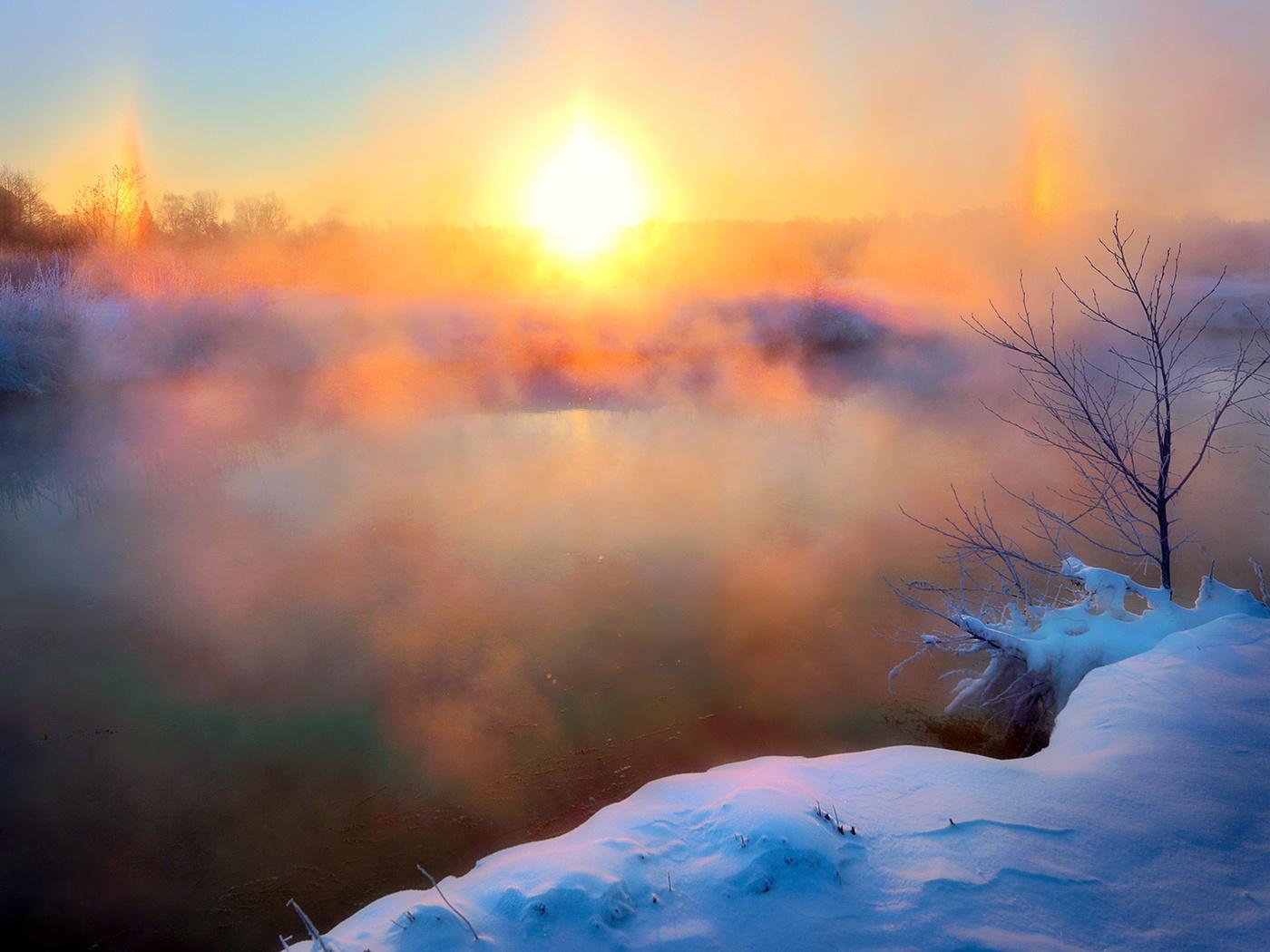 утро солнце снег картинки