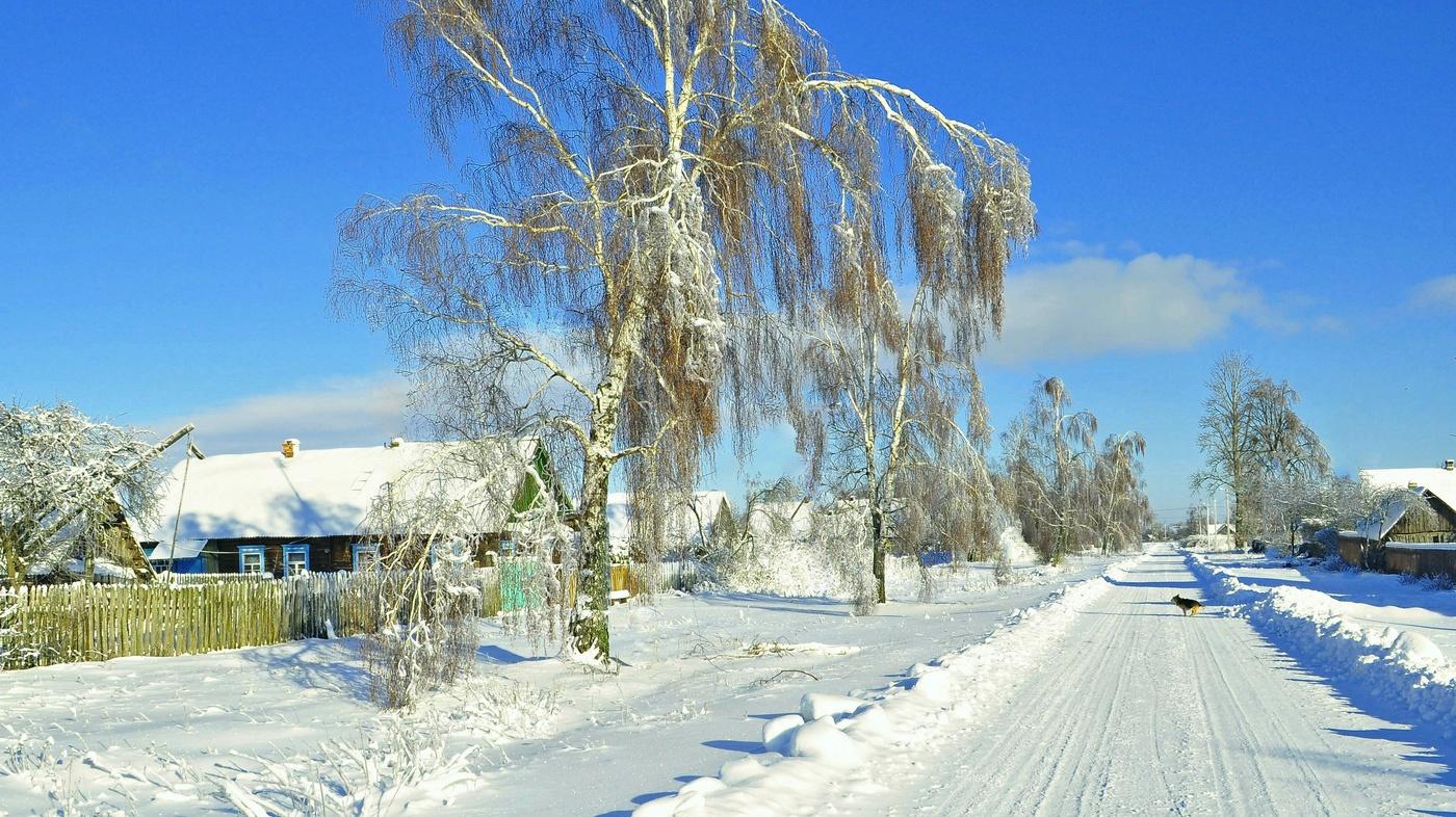 Картинки деревня зимой, открытки новый год