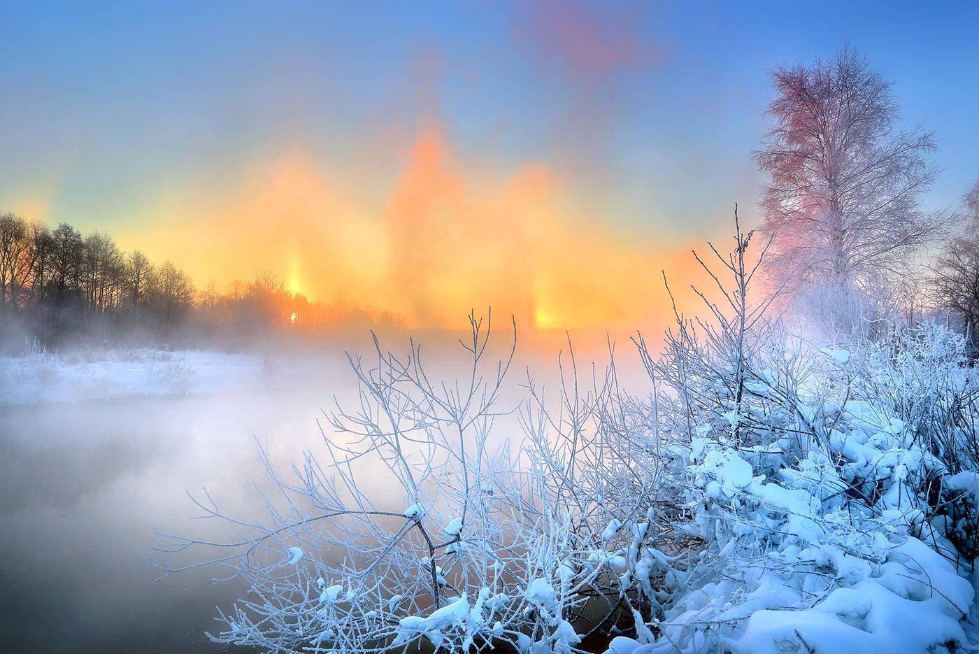 утро солнце снег картинки сыпь